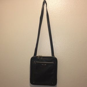 Relic Black Leather Crossbody Bag